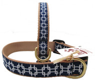 Fresh White on Navy Dog Collars are finished with khaki webbing.