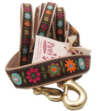Brown Flowery Dog Leashes Made in USA!