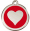 Brilliant Red Enamel Heart Collar Tags in Stainless Steel