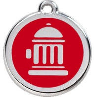 Fire Engine Red Enamel Hydrant Dog Collar Tags in Stainless Steel