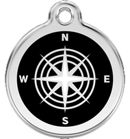 Navigational Compass Pet ID Tags are Made from Stainless Steel and Enamel