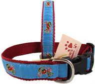 Maryland Flag Crabs Dog Collars in Light Blue