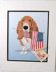 Flag-Holding Basset Hound Prints are Made in USA