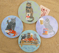 Cat Coasters come as a set of 4.