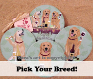 Dog Wine Coasters available in a variety of breeds. Golden Retrievers shown here!