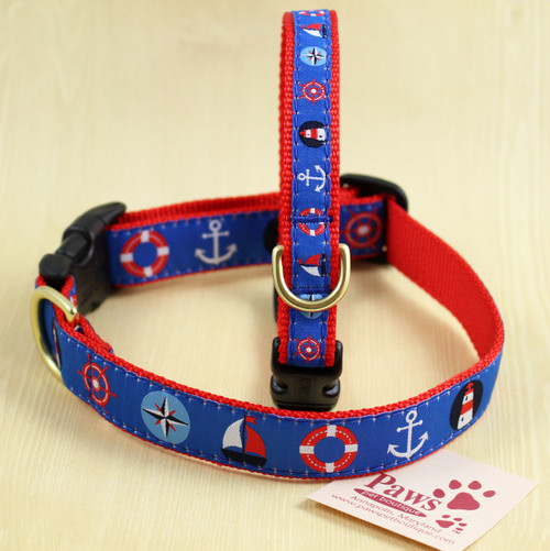 Classic Nautical Dog Collars Made with Designer Ribbon