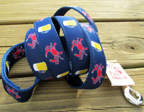 Beer and Crab Dog Leash means Chesapeake summer