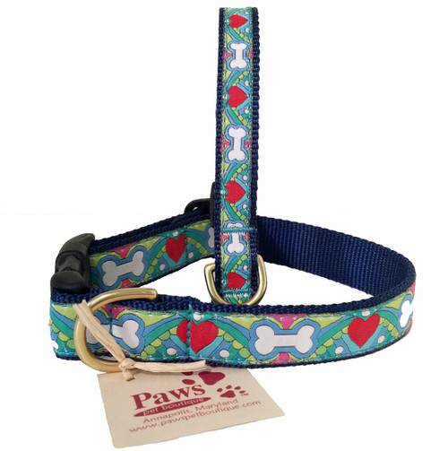 Pastel Bones and Hearts Dog Collar made in USA