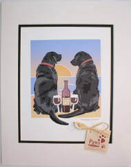 Black Lab Art, Dogs and Wine