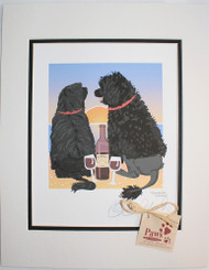 Portuguese Water Dog Art, Dogs and Wine