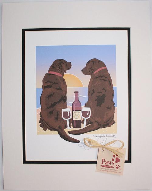 Chocolate Lab Art - Sunset, Dogs and Wine