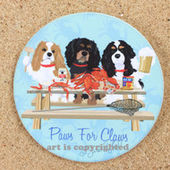 Crabs and Cavaliers Dog Coasters