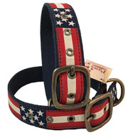American Flag Brass Buckle Dog Collar