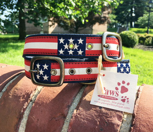 Retro American Flag Buckle Dog Collars