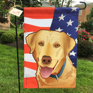 Stars and Stripes Yellow Lab Flag