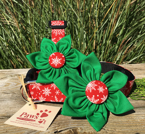 Red Snowflake Dog Collar with Removable Flower
