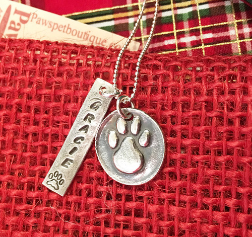 Silver Bar Charm with Name (note: paw print charm sold separately)
