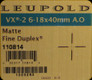 Leupold - VX-2 - 6-18x40mm - Matte - Fine Duplex Adj. Obj.