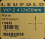 Leupold - VX-2 - 4-12x50mm - Matte - LR Duplex