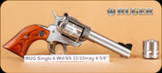 Ruger - Single Six - 22LR/22WMR - Wd/SS, 4 5/8""