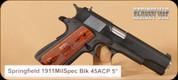 "Springfield - 1911 - 45ACP - Mil Spec Parkerized, Bl, 5"""