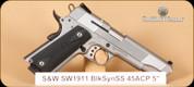 """S&W - SW1911 - 45ACP -Blk Rubber grips, SS, 5"""""""