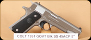 Colt - 1991 Govt - 45ACP - BlkSyn/SS, 2 mags, 5""