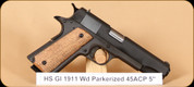 High Standard - GI 1911 - 45ACP - Lipsey\s Exclusive, Wd Parkerized, 5""