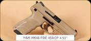 "H&K - HK45 FDE (V1) - 45ACP - Lipsey's Exclusive, Cerakote FDE, 4.53"""