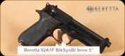 "Beretta - 92AI - 9mm - Type F, BlkSyn/Blued, 4.9"", 2 mags, speedloader, hard case"