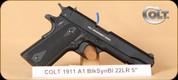 "Colt - Govt 1911 A1 - 22LR - Government, BlkSyn/Bl, 5"""
