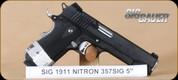 "SIG - 1911 - 357SIG - Nightmare, Black G10 grips/Nitron finish, low profile night sights, skeletonized trigger, 5"""
