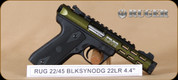 """Ruger - 22/45 Lite - 22LR - BlkSyn/OD Green anodize, 4.4"""", 2 mags, soft case, restricted"""