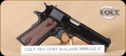 """Colt - 1991 Govt - 9mm - Wd/Bl, 5"""", single action, restricted"""