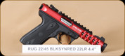 "Ruger - 22/45 Lite - 22LR - BlkSyn/Red Anodize, 4.4"", 2 mags, soft case, restricted"