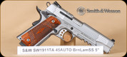 "S&W - 1911TA - 45ACP - Laminate/SS, 5"", single action, accessory rail, restricted"