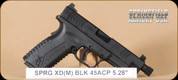 "Springfield - XDM - 45ACP - BlkSynBl, 5.25"", threaded brl with cap, 3 magazines, interchangeable backstraps"