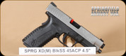 "Springfield - XDM - 45ACP - BlkSynSS, 4.5"", 2 magazines, interchangeable backstraps"