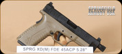 "Springfield - XDM - 45ACP - FDE/Bl, 5.25"", 3 magazines, interchangeable backstraps"
