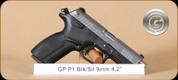 Grand Power - P1 - 9mm - BlkSyn/Silver - 4 Interchangeable Grips, 2 Mags,  3.6""