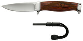 """Browning - Bush Craft Ignite - Fixed Drop Point - Ignite Carbide Fire Starter - 4 1/4"""" Blade - 7Cr17MoV Stainless - Brown Leather Sheath - Cocobolo"""