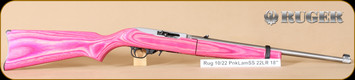 "Ruger - 10/22 - 22LR - Pink Laminate Takedown/SS, 18.5"", nylon case"