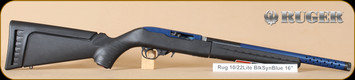 """Ruger - 10/22 - 22LR - Takedown Lite. BlkSyn/Blue, 16"""", threaded brl, Lipsey's Exclusive, nylon case"""