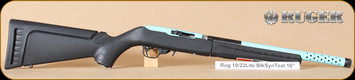 "Ruger - 10/22 - 22LR - Takedown Lite. BlkSyn/Turquoise, 16"", threaded brl, Lipsey's Exclusive, nylon case"