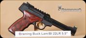 "Browning - Buckmark - 22LR - Plus UDX, Rosewood/Blued, picatinny rail, Truglo fiber optic fron sight, slabside barrel, 5.5"", soft case"