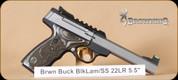 "Browning - Buckmark - 22LR - Plus UDX, BlkLam/SS, Truglo fiber optic, slabslide barrel, 5.5"", soft case"