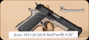 Browning - 1911-22 - 22LR - Desert Tan/Bl, fixed sights, 4.25""