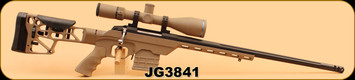 """Consign - Tikka - 6.5Creedmoor - T3 - MDT Chassis (FDE), Benchmark 22"""" Fluted Barrel with Brake, 2x MDT Poly Mags (FDE), Huskemaw 5-20 Blue Diamond FDE Cerakote (w/ Custom Turret for factory Hornady 143gr ELD-X), Build by Corlane Sporting Goods"""
