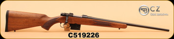 """CZ - 527 American - 7.62x39 - Checkered Walnut Stock/Bl, 21.9"""", 1"""" Rings Included, S/N C519226"""