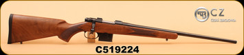 """CZ - 527 American - 7.62x39 - Checkered Walnut Stock/Bl, 21.9"""", 1"""" Rings Included, S/N C519224"""